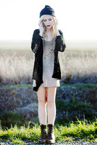 neutral Native dress - black deconstructed Chicwish cardigan