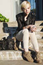 tan Forever 21 boots - black catherine malandrino jacket - off white Slow pants