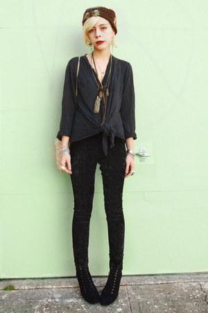 black velvet Forever 21 pants