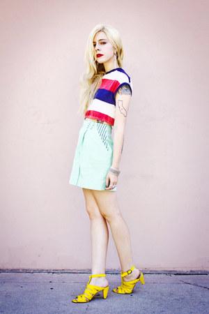 yellow American Rag shoes - aquamarine vintage skirt - red crop vintage top