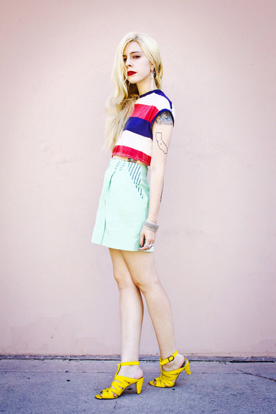 yellow American Rag shoes - aquamarine vintage skirt - red crop vintage top