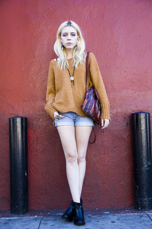 orange romwe sweater - black romwe boots - maroon backpack Blowifsh bag