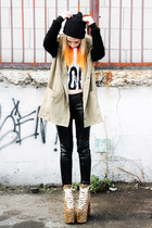 white word Bitching & Junkfood top - tan UNIF shoes