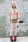 Ruby-red-jeffrey-campbell-shoes-peach-sweater-camel-urban-outfitters-shorts-