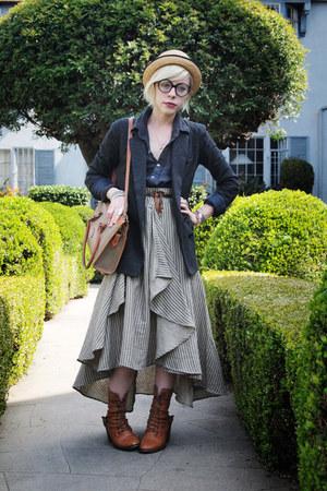 neutral straw bowler H&M hat - gray knit JCrew blazer - tan vintage Dooney & Bou