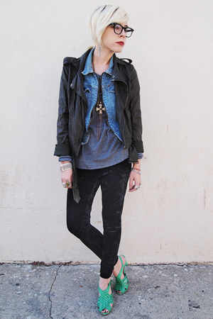 aquamarine H&M shoes - charcoal gray Forever 21 jacket - silver nation shirt - s