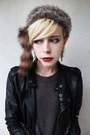 Tan-forever-21-boots-dark-brown-faux-fur-vintage-hat-black-biker-jacket-swor