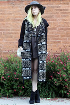black lucky boots - black vintage dress - black vintage sweater