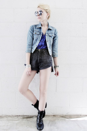 black vintage boots - light blue vintage jacket - black vintage shorts