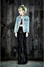 Sky-blue-denim-vintage-jacket-black-velvet-miracle-eye-leggings