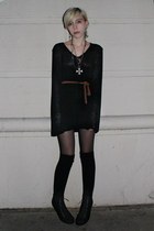 black vintage dress - brown J Crew belt - black Forever 21 stockings - silver Ko