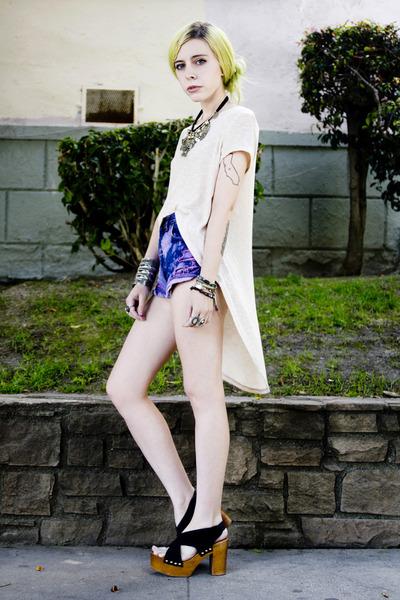 violet DIY shorts - black wholesale-dressnet shoes - black vintage necklace
