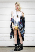 black vintage boots - white DIY shirt - sky blue Urban Outfitters cape