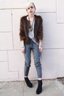 Dark-brown-faux-fur-uo-jacket-silver-mesh-inset-seneca-rising-t-shirt-heathe