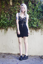 black beaded bodycon House of Maryanne dress - black creepers Anarchic shoes