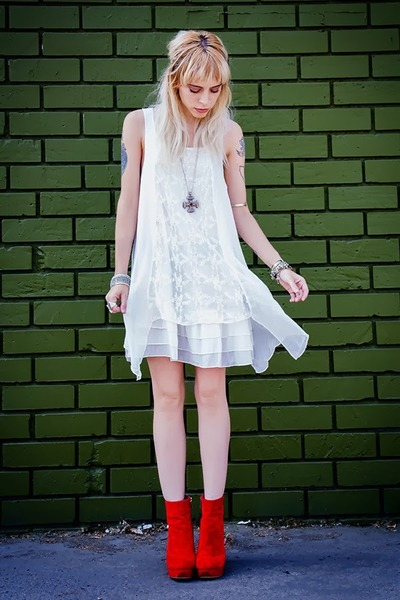 white white crow dress - ruby red romwe shoes