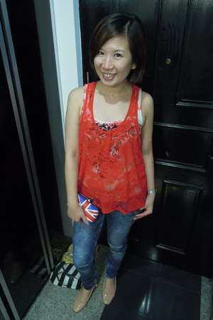 ruby red top - navy jeans