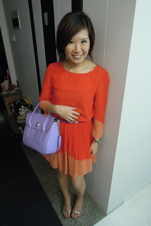carrot orange Topshop dress - light purple kate spade bag - deep purple belt