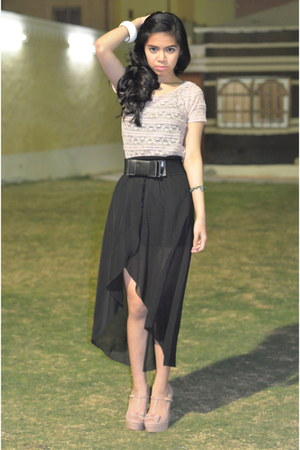 mullet skirt skirt - platform suede new look shoes - lace Stradivarius top