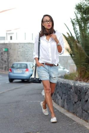 pull&bear shorts - H&M blouse - Gaimo flats
