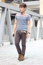 Sebago boots - Terranova pants - aztec print Topman t-shirt - Aldp bracelet