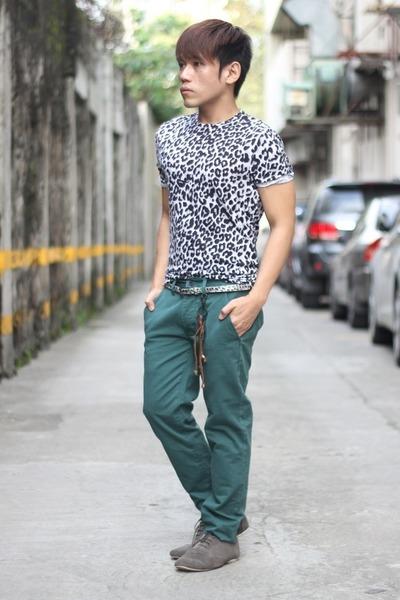 black leopard print Topman shirt - heather gray suede Zara shoes