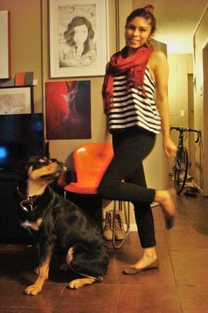 black high waisted H&M pants - striped H&M shirt