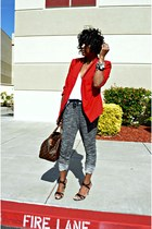 red Rafaella blazer - white Zara top - black pants