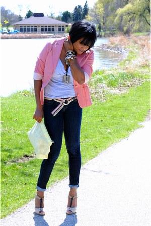 bubble gum leather Nine West jacket - light yellow clutch H&M bag