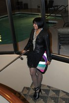 black Michael Michael Kors jacket - black BCBGMAXAZRIA skirt - gray HUE tights -