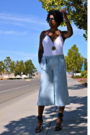white halter Zara top - light blue gauchos Jessica Simpson pants