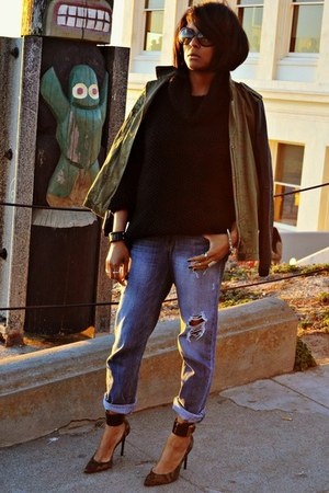 blue boyfriend jeans Fade to Blue jeans - olive green Zara jacket