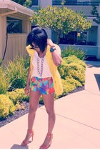 hot pink print Zara shorts - white kohls t-shirt - yellow Ralph Lauren vest