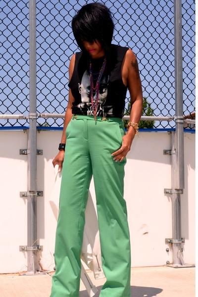 white Zara blazer - black 2 pac Forever 21 t-shirt - green dvf pants