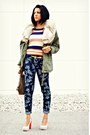 Navy-floral-fire-la-jeans-olive-green-jacket