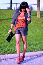 red graphic Chaser t-shirt - black tweed jacket - black leather Joie shorts