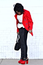 red jacket - red Dolce Vita shoes - black Levis jeans - white top