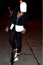 black colorblock Black Rainn blazer - white hat - white Alexander Wang heels