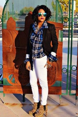 navy plaid shirt shirt - tawny leopard print Vince Camuto boots