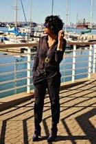 31 Phillip Lim boots - navy one piece plaid Zara suit