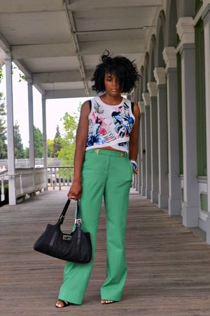 black Fendi bag - green trousers dvf pants - blue crop Zara top