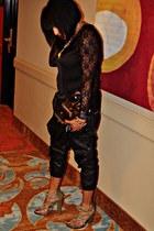 black lace Silence & Noise blouse - black Sparkle & Fade pants