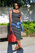 black stripe dress - blue denim H&M shirt - red MCM bag