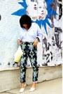 Light-blue-ralph-lauren-shirt-light-yellow-clutch-h-m-bag