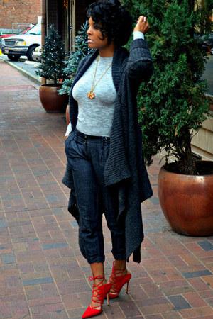 charcoal gray cardigan All Saints sweater - heather gray knit Zara top