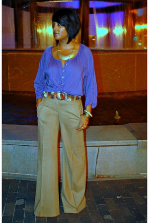 tan wide leg BCBGMAXAZRIA pants - dark brown Anthropologie belt