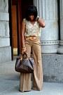 Beige-snake-print-h-m-blouse-tan-wide-leg-bcbgmaxazria-pants