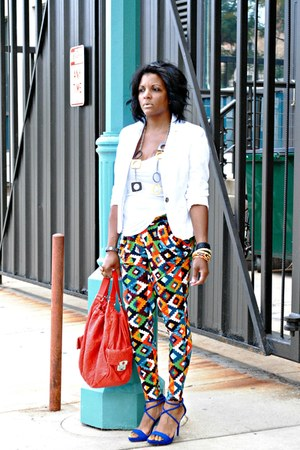 carrot orange print pants - white H&amp;M blazer - blue Zara sandals