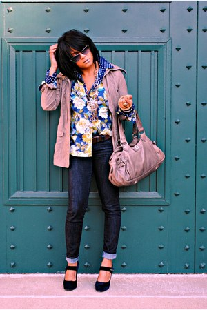 polka dot Notations shirt - floral print Old Navy shirt - Forever 21 jacket