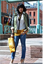 army green Zara jacket - blue blank nyc jeans - mustard colorblock Cupio blouse